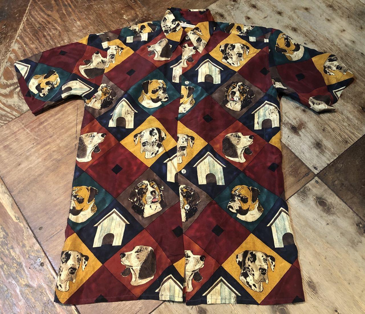 6月8日(月)入荷!90s〜DOGパターン シルクシャツ!_c0144020_12494671.jpg