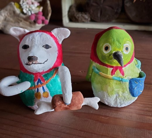 張り子人形オーダー~犬とメジロ_f0208315_12162727.jpg