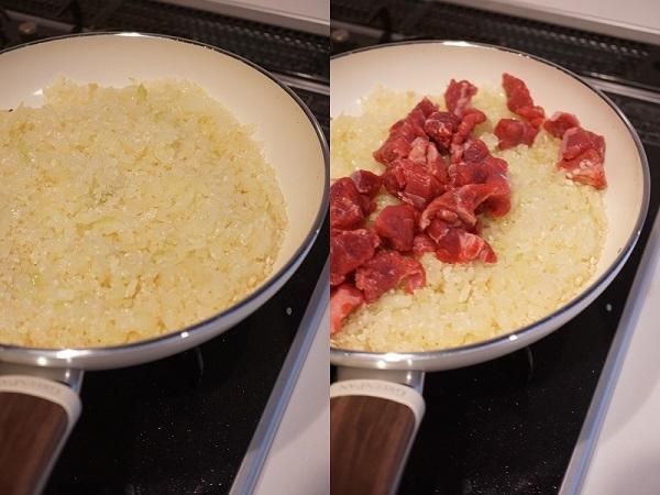 グリーンパンを使ったキノコと牛肉のパエリア_d0269651_14200974.jpg