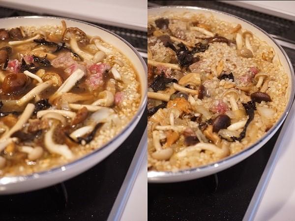 グリーンパンを使ったキノコと牛肉のパエリア_d0269651_14201665.jpg