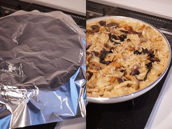 グリーンパンを使ったキノコと牛肉のパエリア_d0269651_14202076.jpg
