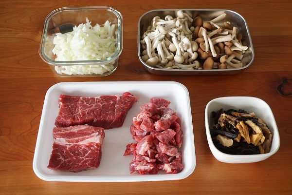 グリーンパンを使ったキノコと牛肉のパエリア_d0269651_15121371.jpg