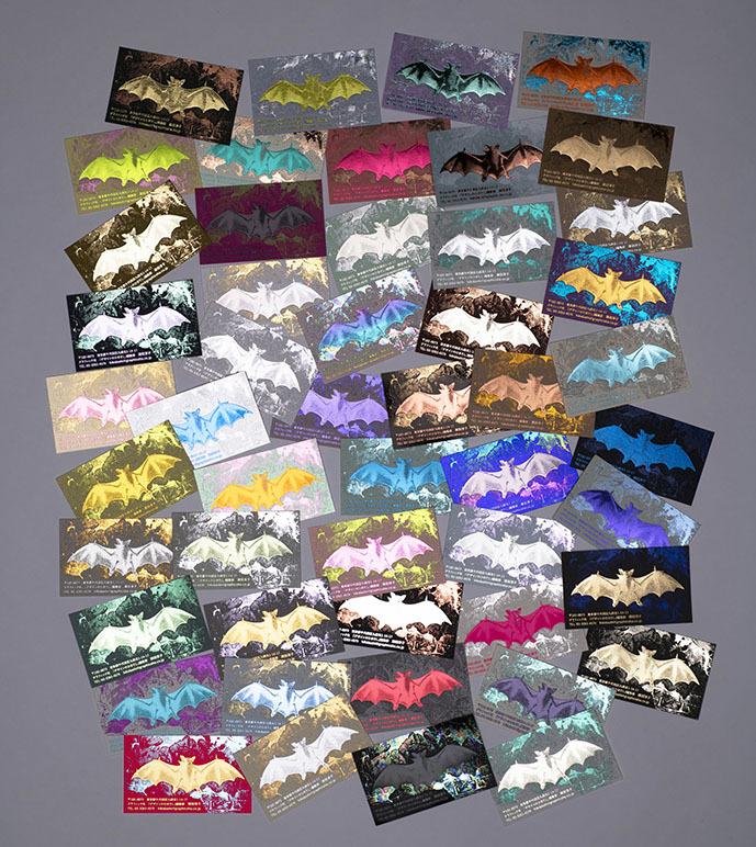50パターンの[コスモテック・紙と箔、完全おまかせ名刺]、全国11書店で展示!_c0207090_12075592.jpg