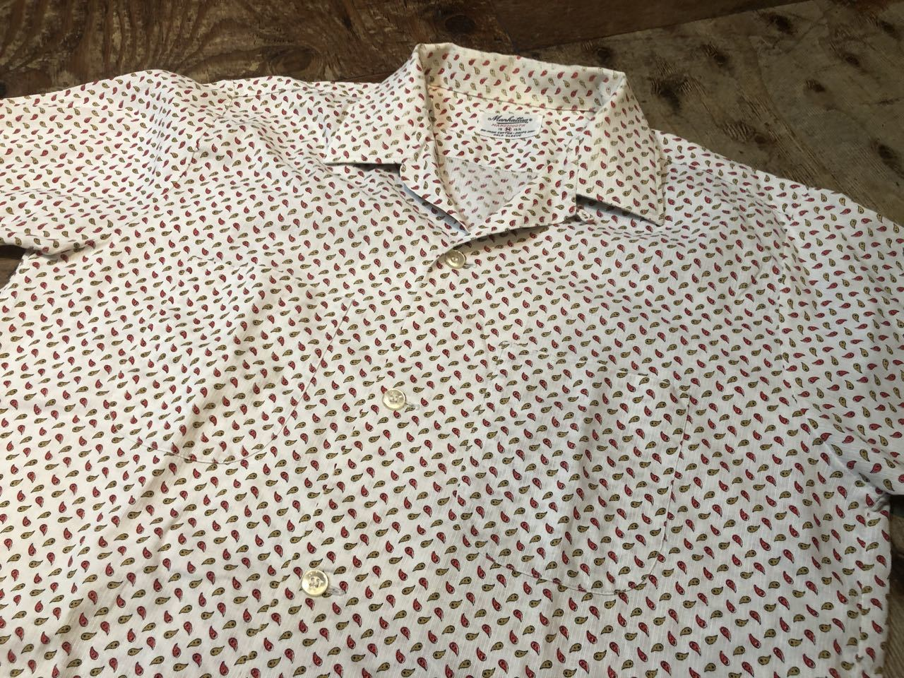 6月13日(土)入荷!60s Manhattan 小紋 ペイズリー柄 ボックス オープンカラーシャツ!_c0144020_13285406.jpg