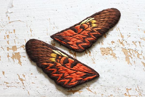 今までで最大の立体刺繍の蝶々の前翅が完成!_e0333647_15585490.jpg