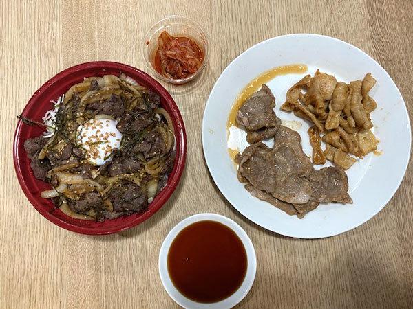 金沢(旭町):焼肉なんば亭 「牛ハラミの切落し丼」と「シロ、豚肩ロース」テイクアウト_b0089578_13541080.jpg