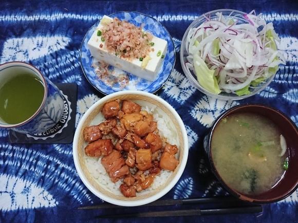 6/16夜勤前飯 吉野家の冷凍焼鳥丼セット@自宅_b0042308_19035145.jpg