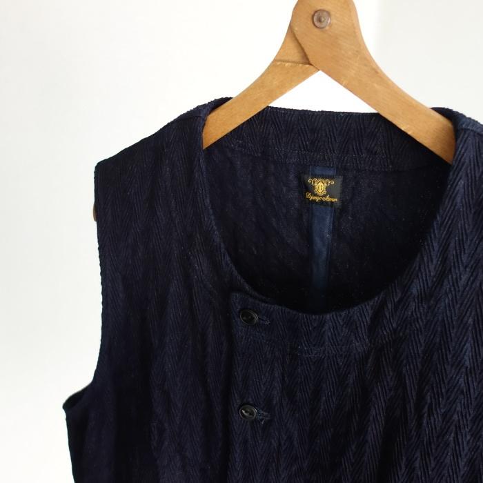 8月の製作 / DA frenchwork indigo vest_e0130546_16175070.jpg
