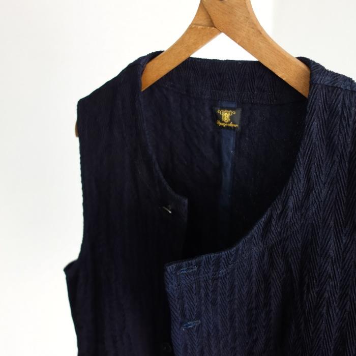 8月の製作 / DA frenchwork indigo vest_e0130546_16180490.jpg