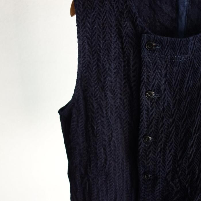 8月の製作 / DA frenchwork indigo vest_e0130546_16183652.jpg