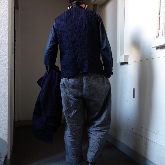 8月の製作 / DA frenchwork indigo vest_e0130546_17425005.jpg