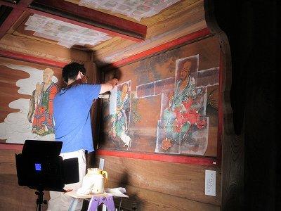 山門「壁画・天井画」修復_b0092684_14275664.jpg