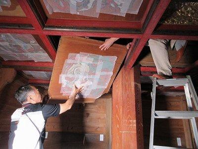 山門「壁画・天井画」修復_b0092684_14311872.jpg
