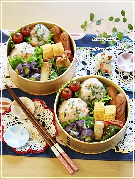 鮭とと大葉のおむすび弁当と作りおきと普通の紫陽花♪_f0348032_15334398.jpg