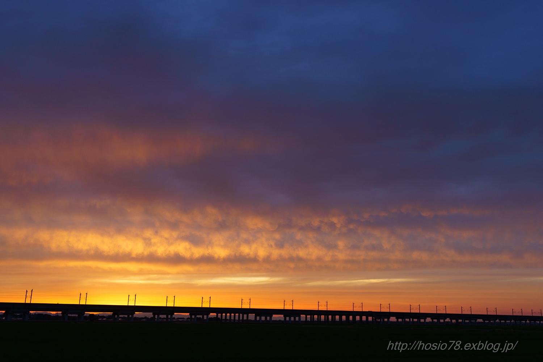 夕日と上越新幹線_e0214470_20500346.jpg