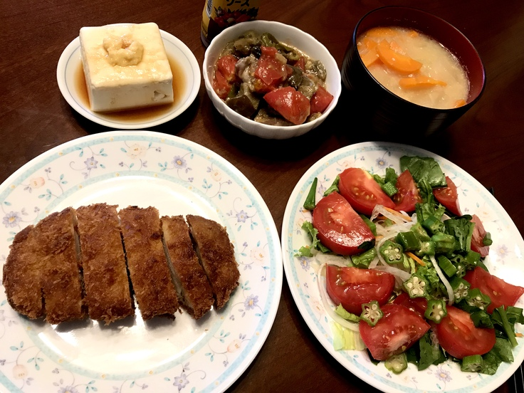 6/23火☆野菜・豆腐・豚カツ!!ひとりのランチ兼夕ごはん。_c0212604_16482263.jpg
