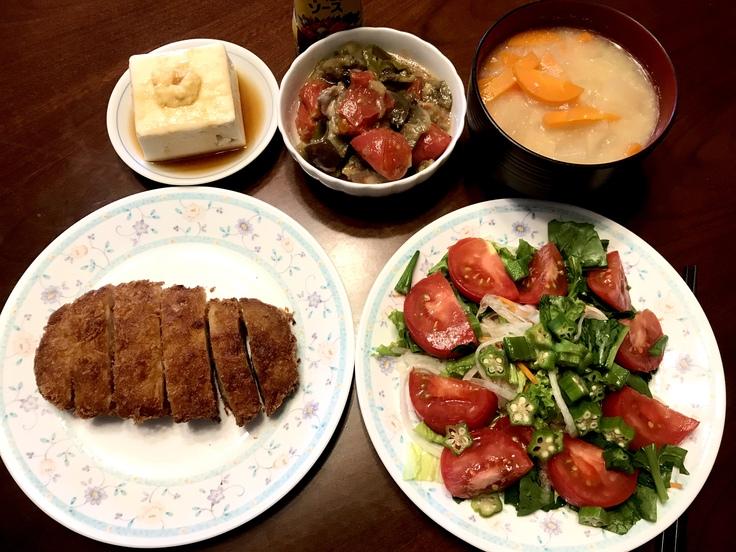 6/23火☆野菜・豆腐・豚カツ!!ひとりのランチ兼夕ごはん。_c0212604_1648842.jpg