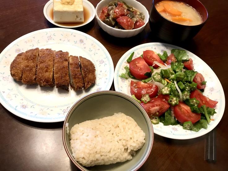 6/23火☆野菜・豆腐・豚カツ!!ひとりのランチ兼夕ごはん。_c0212604_1649379.jpg