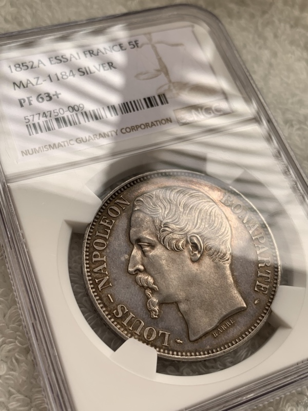 ナポレオン3世1852年5フラン銀貨PF63+! 🤩入手うう🤩_d0357629_12082691.jpeg