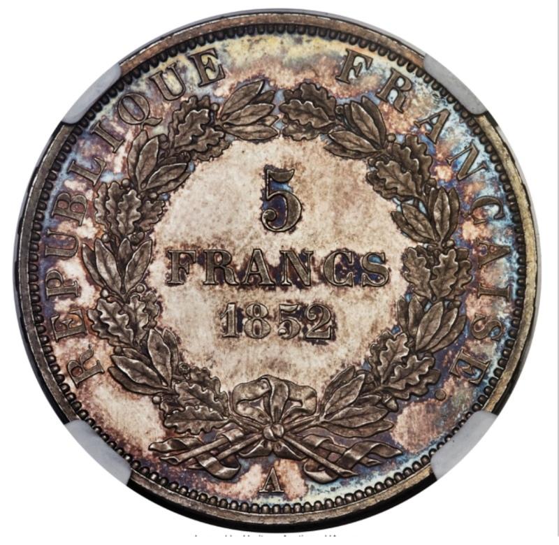 ナポレオン3世1852年5フラン銀貨PF63+! 🤩入手うう🤩_d0357629_12201644.jpeg