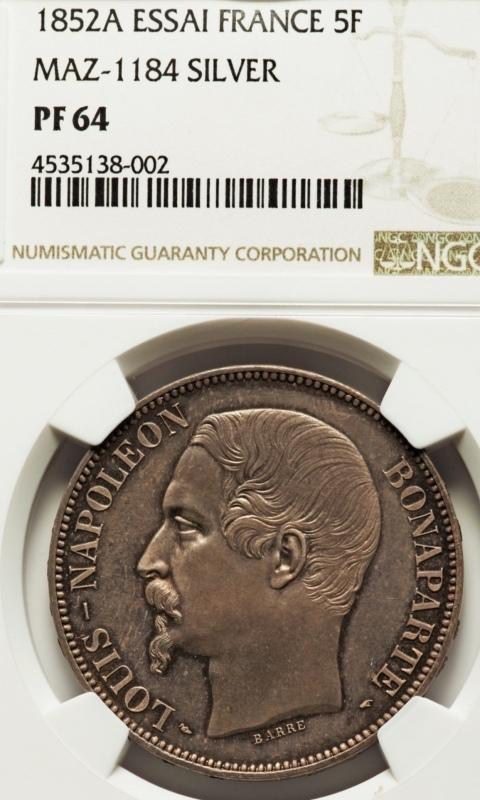 ナポレオン3世1852年5フラン銀貨PF63+! 🤩入手うう🤩_d0357629_12221352.jpeg