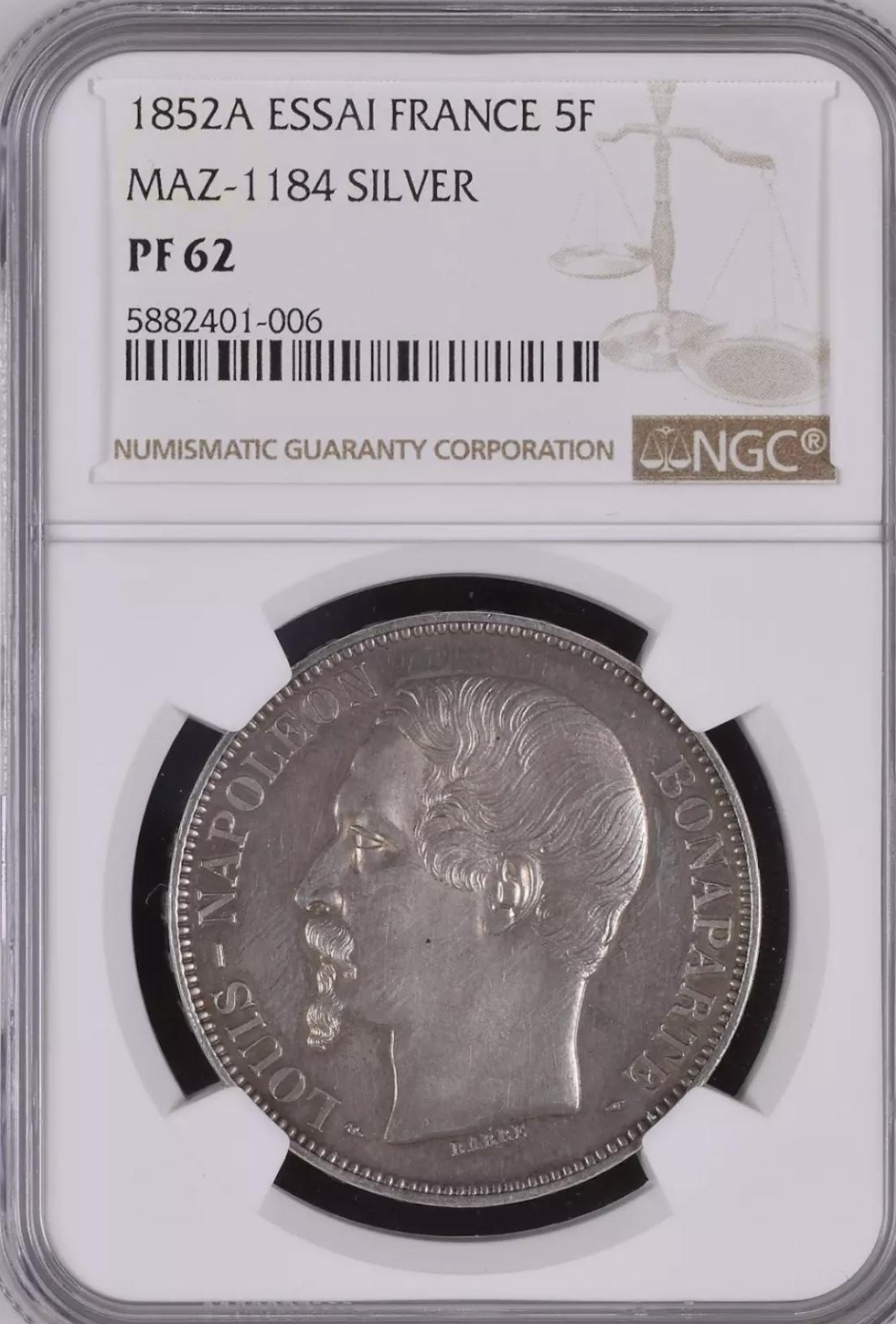 ナポレオン3世1852年5フラン銀貨PF63+! 🤩入手うう🤩_d0357629_12231551.jpeg