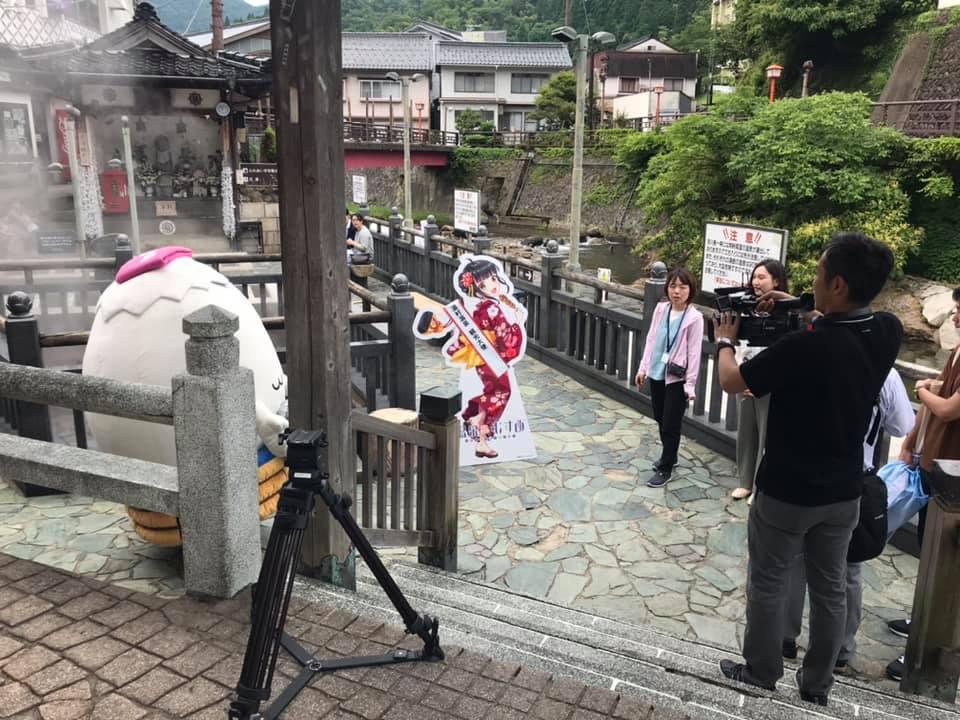 【 北近畿合同PR動画撮影があり、荒湯で湯村千代ちゃん、ゆ~たんと 】_f0112434_15503620.jpg