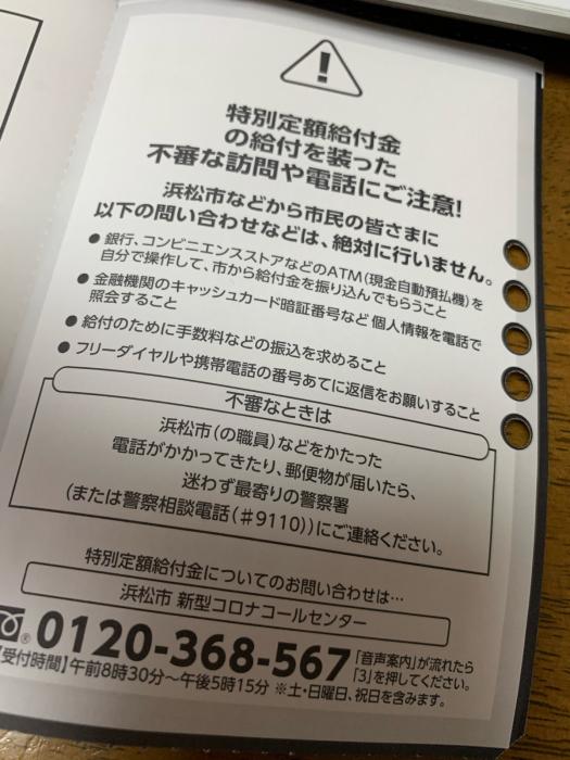 定額 金 浜松 市 特別 給付