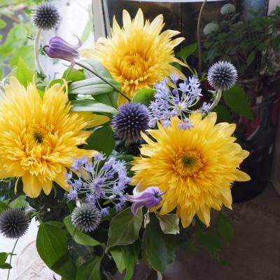 オークリーフ(青い花とひまわりレモネード)_f0049672_19082639.jpg