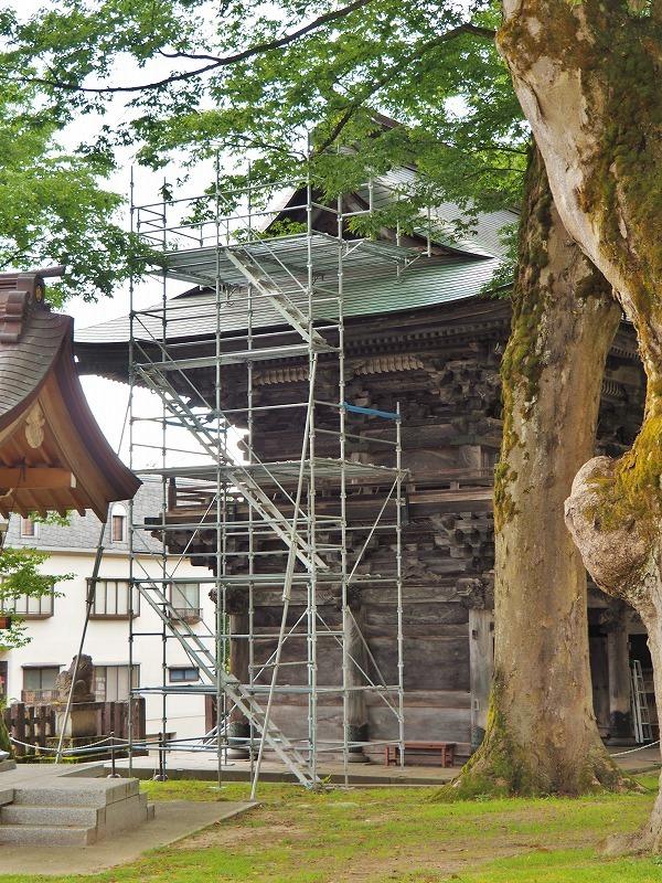 山門の板絵の補修が始まっています_c0336902_18561801.jpg