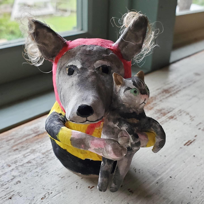 張り子人形オーダー~犬とミミズク_f0208315_09215916.jpg