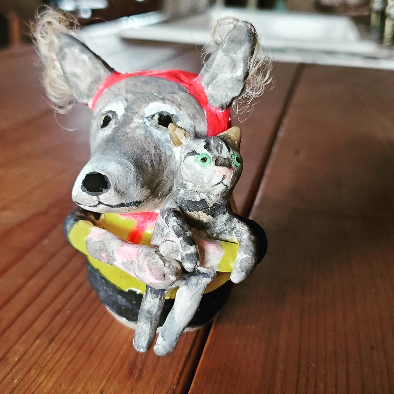 張り子人形オーダー~犬とミミズク_f0208315_09221044.jpg