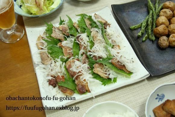 昨夜の豚肉の葱レモンソース&野菜の素揚げおうちバル&ひとりごはん_c0326245_11461327.jpg
