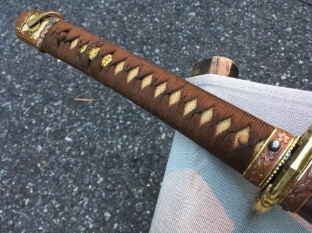 陸軍将校用新型制式軍刀外装・鞘は茶褐鮫鞘仕上の新型軍刀制定当初の物。_a0154482_19205173.jpg