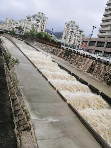 いつもは穏やかな #住吉川 、勢いのある #濁流 へ…_a0004752_14511171.jpg