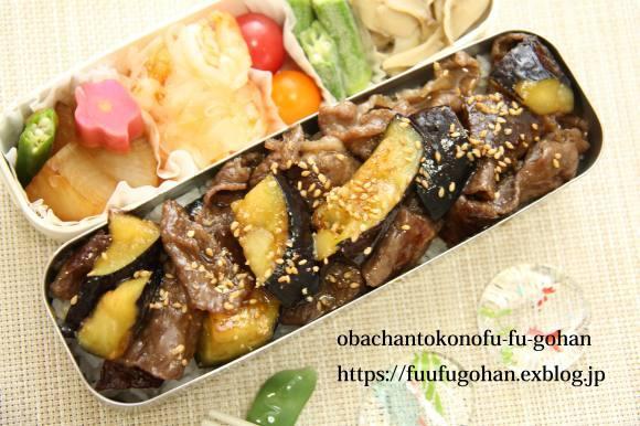 牛もも肉と茄子の味噌炒め丼弁当&御出勤御膳_c0326245_11575735.jpg