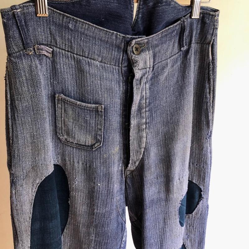German Military HBT Indigo Linen Drilich Trousers._f0370108_13363972.jpg