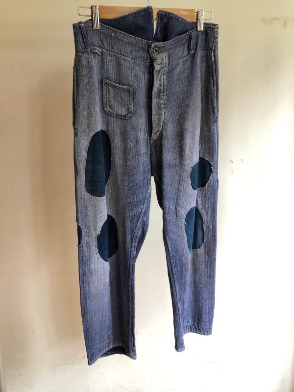 German Military HBT Indigo Linen Drilich Trousers._f0370108_13364215.jpg