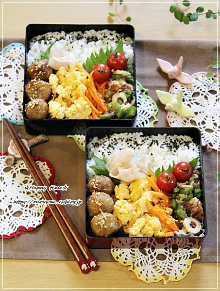 肉団子の甘酢餡弁当とりぼん♪_f0348032_16364789.jpg