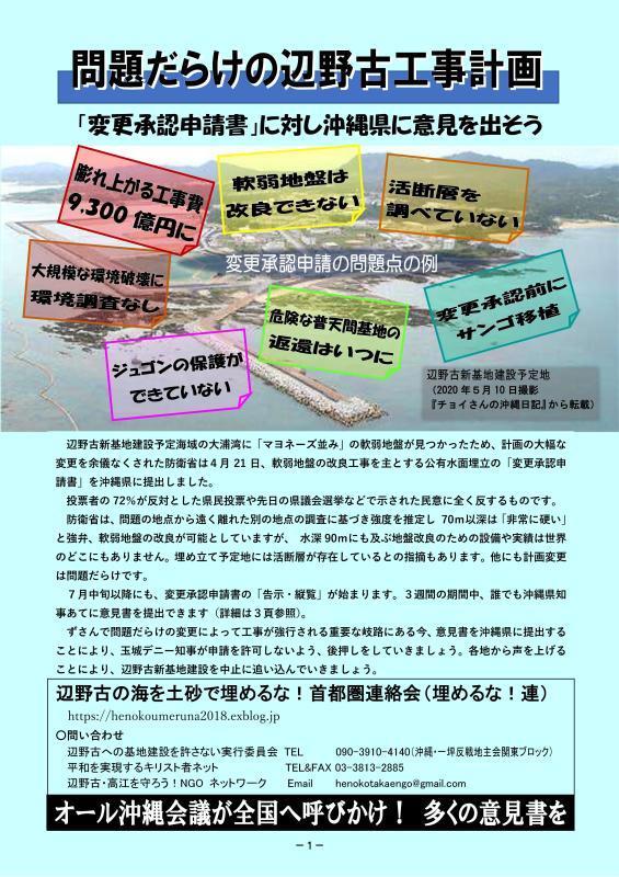辺野古「設計変更申請」に意見書を!_d0391192_10411660.jpg