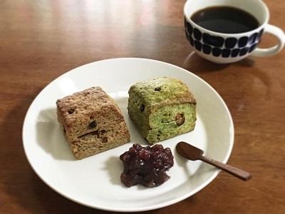 抹茶とほうじ茶のスコーンとレーズン食パン_f0231189_20504790.jpg