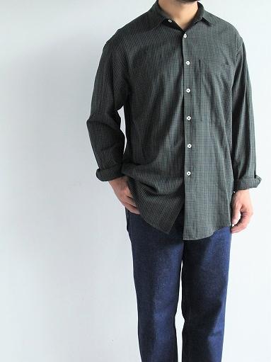 unfil washed brushed cotton regular collar shirt / gun club check_b0139281_14301821.jpg