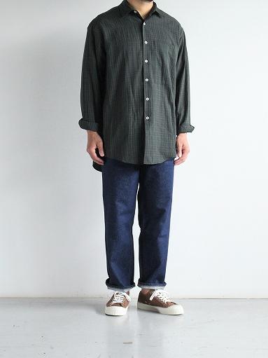 unfil washed brushed cotton regular collar shirt / gun club check_b0139281_14304819.jpg