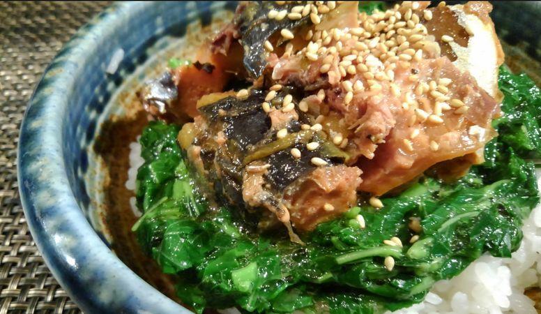 ■簡単5分丼【ヘルシーで美味しい サバ味噌煮缶とモロヘイヤの丼】_b0033423_20565463.jpg