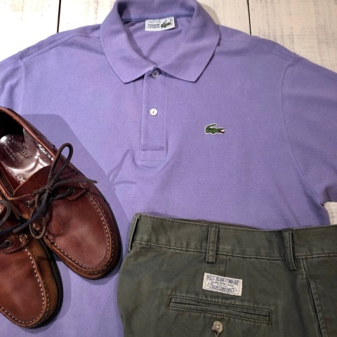 """1970-80s \"""" LACOSTE - MADE IN FRANCE - \"""" 100% cotton PIQUE Vintage S/S POLO SHIRTS ※ ラベンダー( 薄紫 )_d0172088_16153387.jpg"""