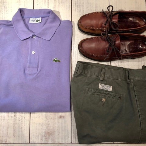 """1970-80s \"""" LACOSTE - MADE IN FRANCE - \"""" 100% cotton PIQUE Vintage S/S POLO SHIRTS ※ ラベンダー( 薄紫 )_d0172088_17133089.jpg"""