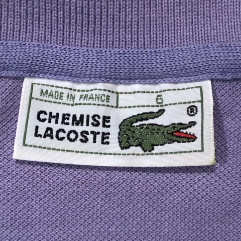 """1970-80s \"""" LACOSTE - MADE IN FRANCE - \"""" 100% cotton PIQUE Vintage S/S POLO SHIRTS ※ ラベンダー( 薄紫 )_d0172088_19443580.jpg"""