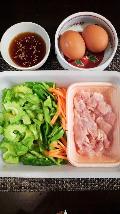 ■昼ご飯の簡単5分おかず【鶏肉入り ゴーヤチャンプルーあき流で^^】_b0033423_19233857.jpg