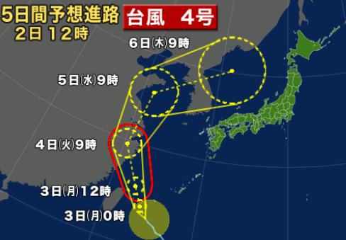 台風4号、8月6日から8月7日、8日に北海道函館に近づく_b0106766_21122320.png