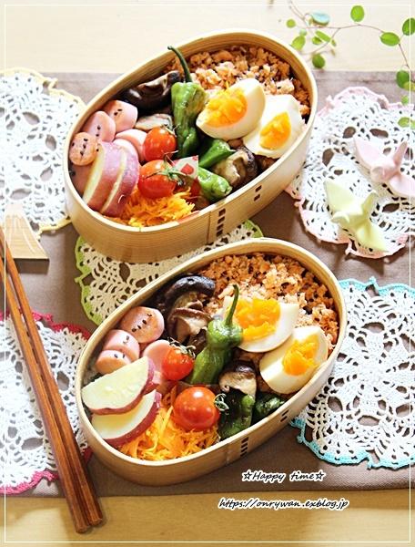 おうち鮭フレークのっけ盛り弁当とパン焼き♪_f0348032_16315612.jpg